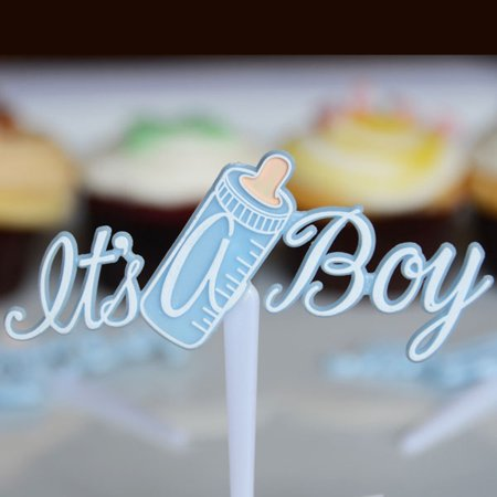 Blue It's a Boy Baby Bottle Cupcake Picks Cake Decoration Party Favor Shower Set of 12 - Halloween Themed Baby Shower Cupcakes
