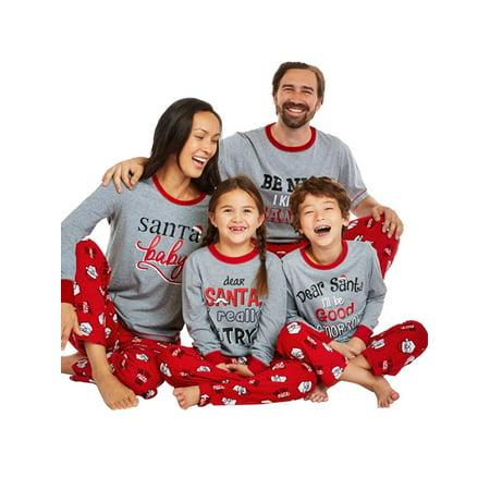 Nlife Letter Print Family Holiday Sleep Pajamas Sets