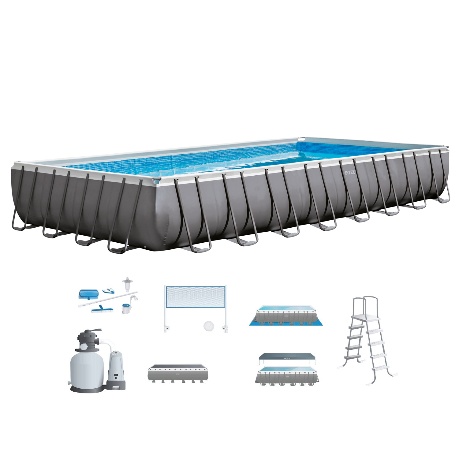 Intex 32' x 16' x 4.3' Ultra Frame Above Ground Swimming Pool Set with Sand Pump by Intex