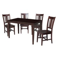 International Concepts Samberg 5 Piece Dining Table Set with 4 San Remo Chairs - Rich Mocha