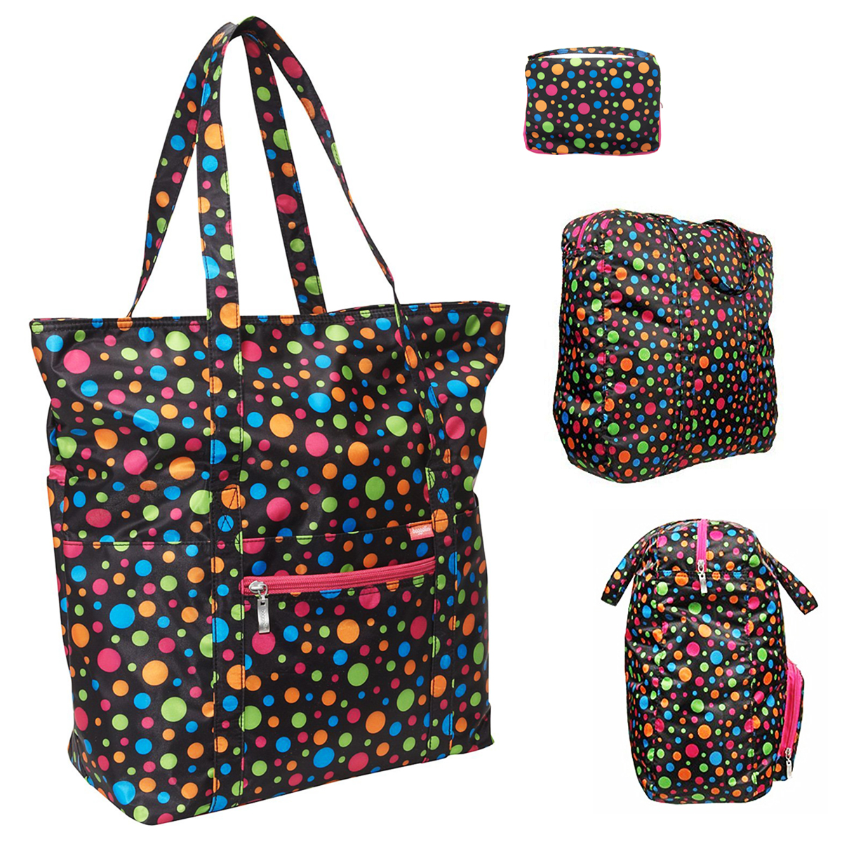 Baggallini Expandable Travel Shoulder Bag Grocery Tote Compact Case Carry-on