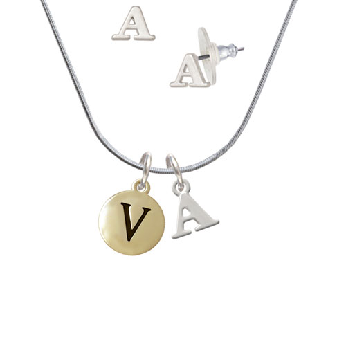 Capital Gold Tone Letter - V - Pebble Disc - - A Initial Charm Necklace and Stud Earrings Jewelry Set