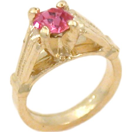 14K Gold Synthetic Tourmaline Ring Charm Birthstone Birthstone 14k Gold Ring Charm