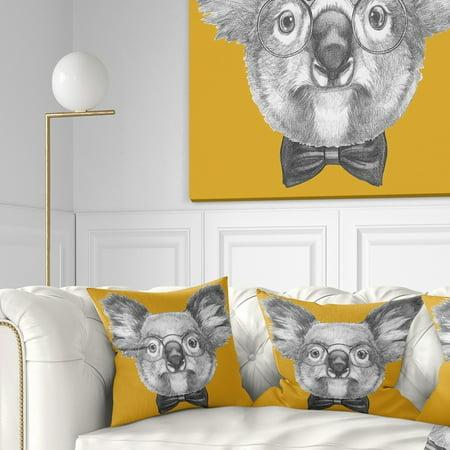 DESIGN ART Designart 'Koala with Glasses and Bow Tie' Contemporary Animal Throw Pillow (Contemporary Design Bow)
