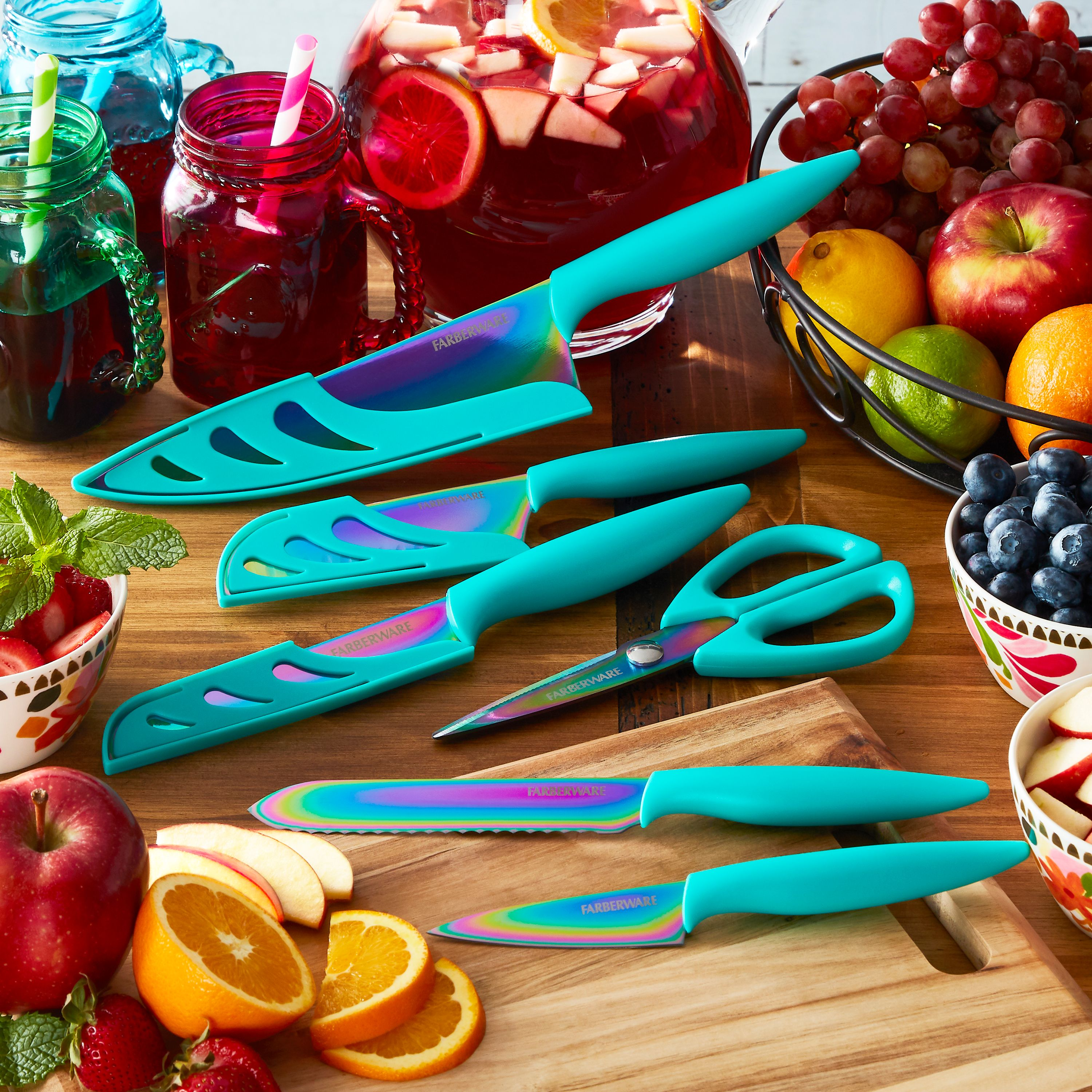 Farberware Colourworks 11-Piece Rainbow Titanium Teal Knife Set