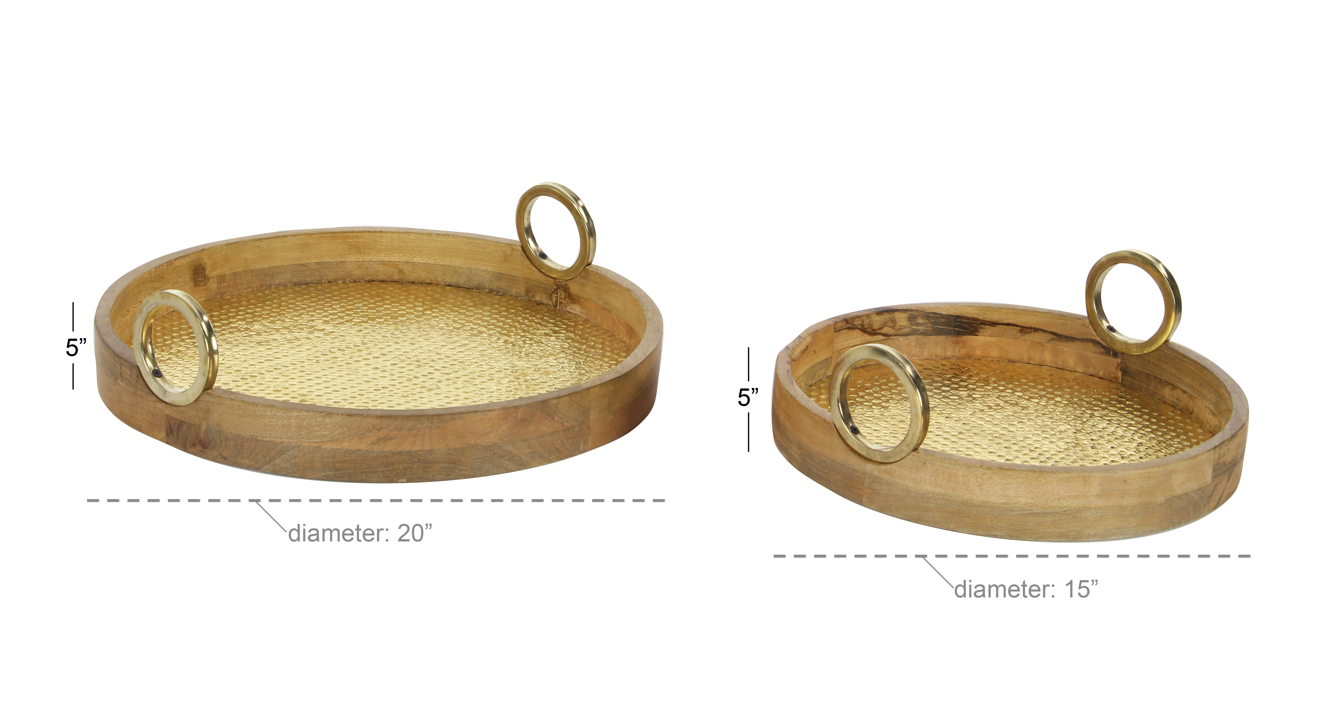 Decmode Traditional 15 And 20 Inch Round Wood And Brass Trays With