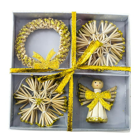 Scandinavian Straw Ornaments (Straw Angel Wreath Pendants Xmas Tree Ornaments Christmas Home Decoration Supply)