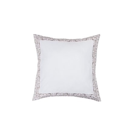 - Home Maison Single (1) 100% Cotton Pure White Euro/Square Size Pillow Sham: Taupe/Gold Decorative Floral Scroll Stitch 26in x 26in (Gold)