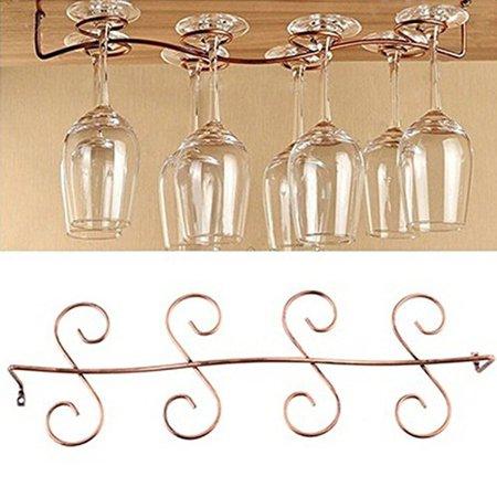 Smarit Under Cabinet Wine Glass Rack Stemware Holder for Home Bar, Holds up to 8 Glasses ()