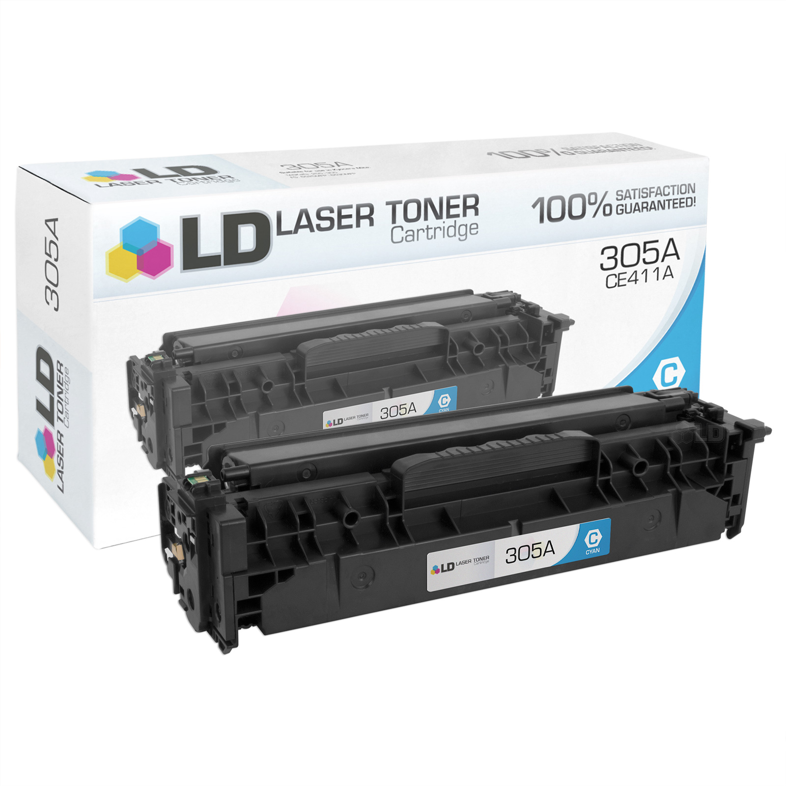 LD Compatible Replacement for HP 305A / CE411A Cyan Toner Cartridge for HP LaserJet Pro 300 Color MFP M375nw, 400 Color M451dn, M451dw, M451nw, M475dn, & M475dw