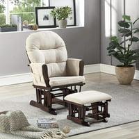 Naomi Home Brisbane Glider & Ottoman Set-Cushion Color:Cream,Finish:Espresso