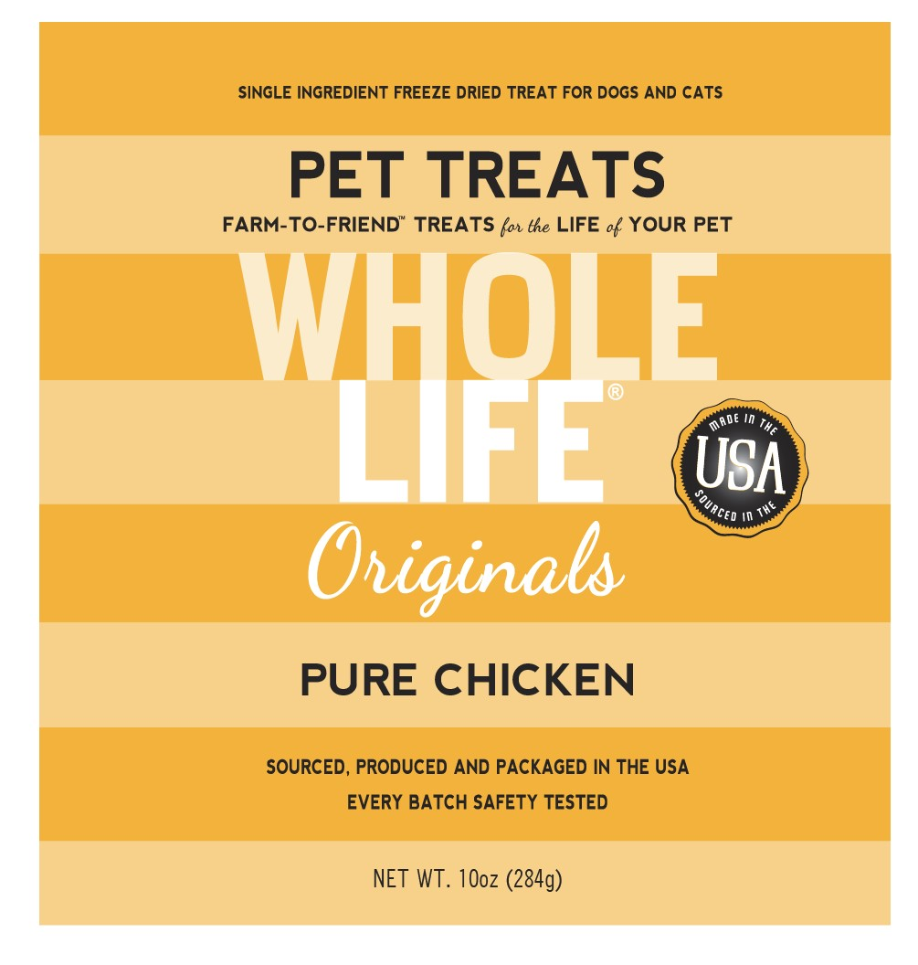 Whole Life Pet Originals 100% Chicken Freeze Dried Dog/Cat Treats 10 oz.