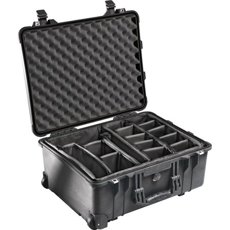 Pelican 1560 Hard Case With Padded Dividers, Black