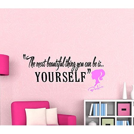"Decal ~ The Most Beautiful thing you can be #2 Barbie Silhouette: Children Wall decal 13"" x 27"" (Blk Dark Pink)"