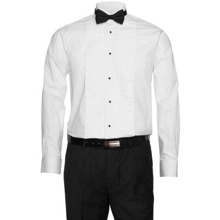 Gentlemens Collection Mens White Tuxedo Shirt 1/4 Inch Pleats with Bow Tie Gentlemens Collection