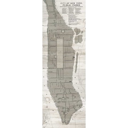 New York Parks Map Vertical Poster Print by Wild Apple