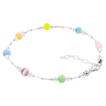 Gem Avenue Sterling Silver Multi Cats Eye Crystal Anklet 9 to 10.5