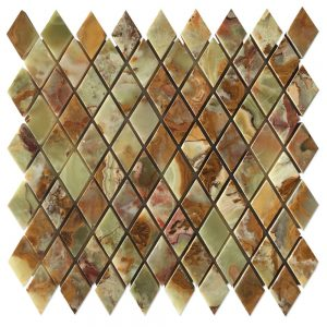 Multi-Green Onyx Diamond Mosaic Tile