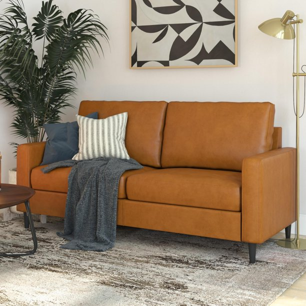 DHP Connor Modern Sofa, Small Space Living Room Furniture, Camel Faux Leather