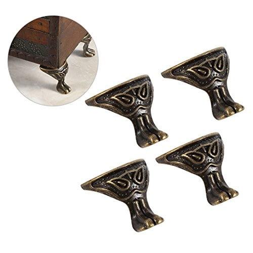4Pcs Pack Vintage Jewelry Box Wood Cases Decor Feet Leg Metal Corner Protector