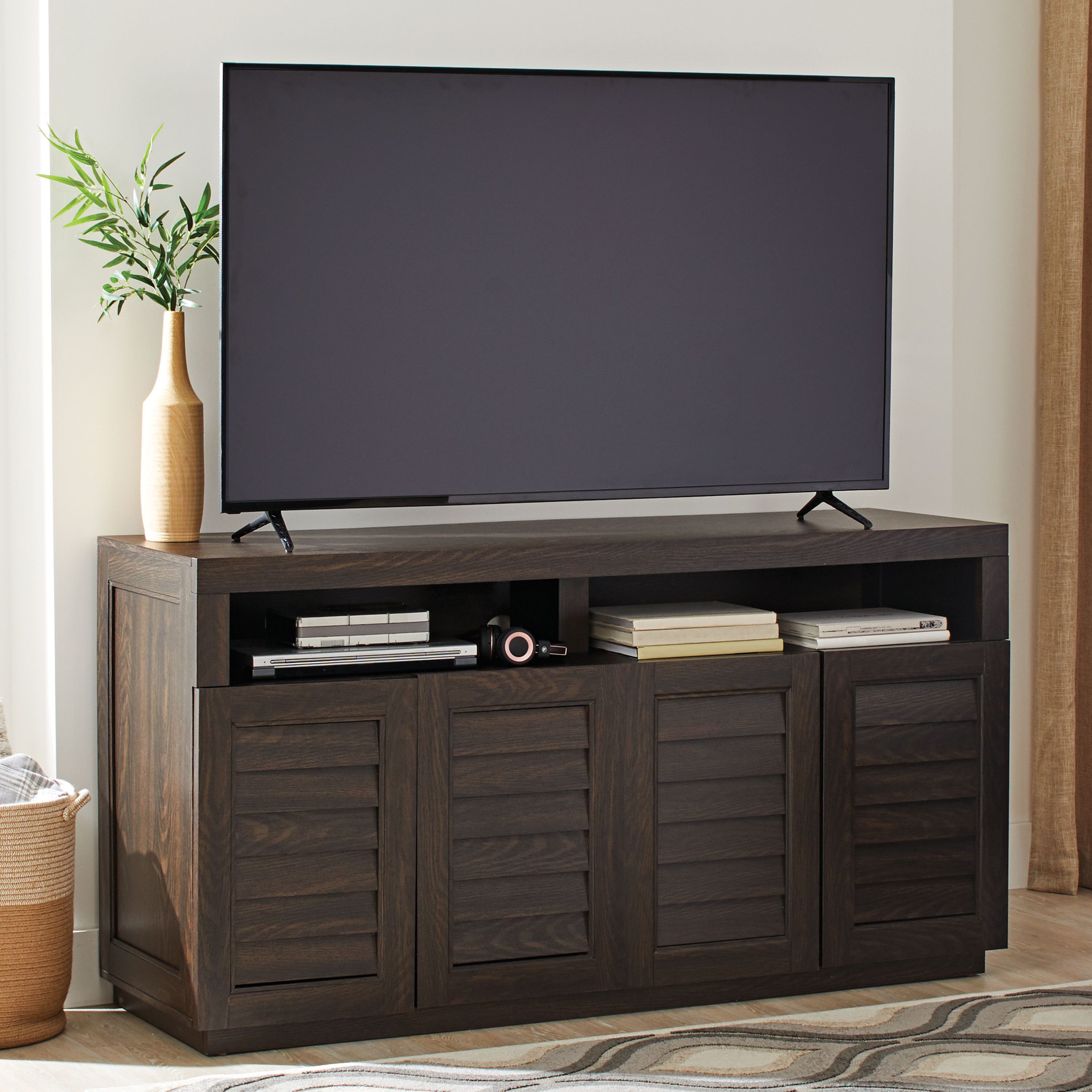 "Better Homes & Gardens Ellis Shutter TV Storage Cabinet for TVs up to 75"", Dark Oak Finish"