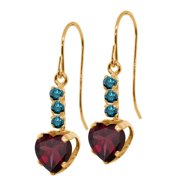 1.64 Ct Heart Shape Red Rhodolite Garnet Blue Diamond 14K Yellow Gold Earrings