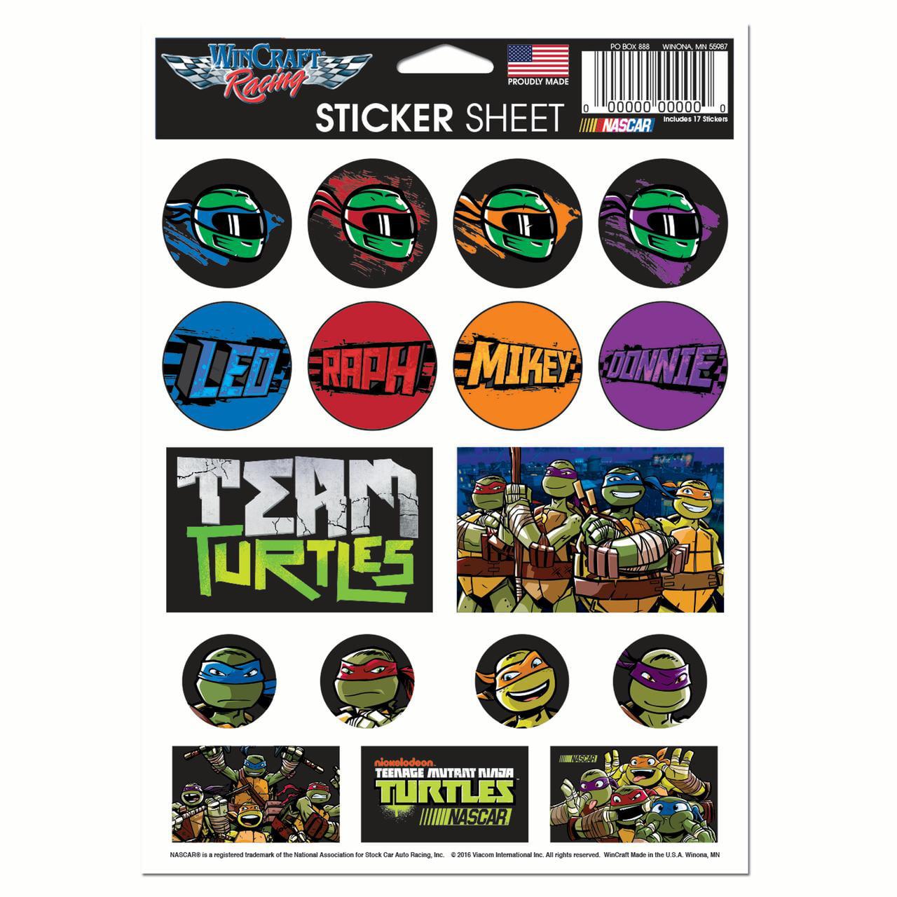 "NASCAR WinCraft 5"" x 7"" Teenage Mutant Ninja Turtles Sticker Sheet - No Size"