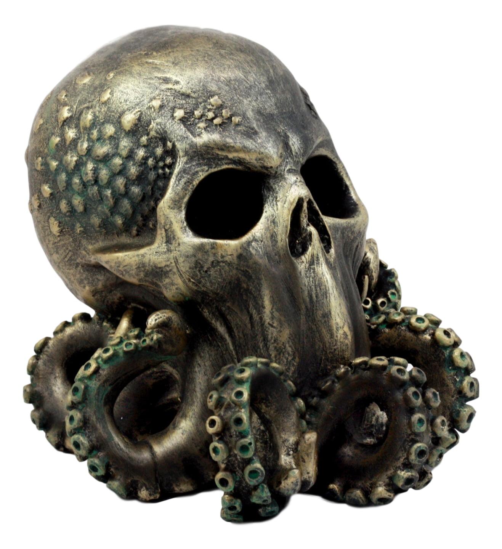 """Ebros Ocean Monster Terror Kraken Cthulhu Skull Figurine 6""""H Mythical Sea Relic Giant Octopus Skull Statue"""