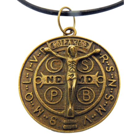 St Benedict Medal 1 1/4 Inch Bronze Tone Metal Saint Pendant with Cord