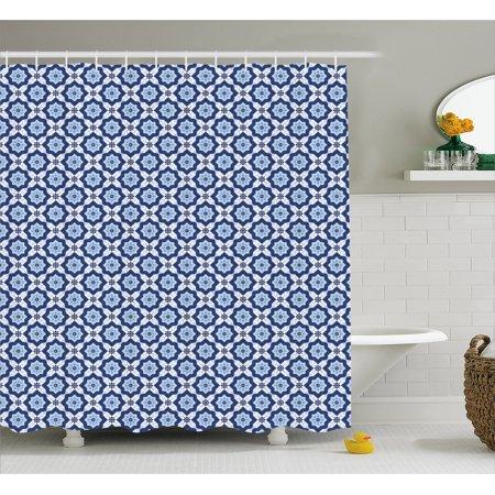 Moroccan Shower Curtain Azulejo Tile Pattern Diagonal Ceramic - Ceramic tile star designs