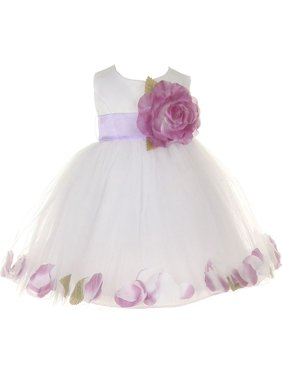 22d41cd54a5 Product Image Baby Girls White Lilac Petal Adorned Satin Tulle Flower Girl  Dress 6-24M