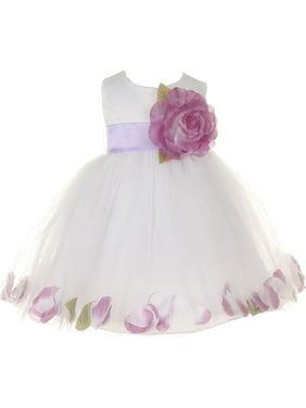 83c7fd27d3d Product Image Baby Girls White Lilac Petal Adorned Satin Tulle Flower Girl  Dress 6-24M