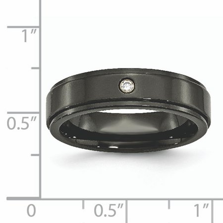 Titanium Black Diamond 6mm Ridged Edge Wedding Ring Band Size 7.00 Man Fancy Fashion Jewelry For Dad Mens Gifts For Him - image 2 de 11
