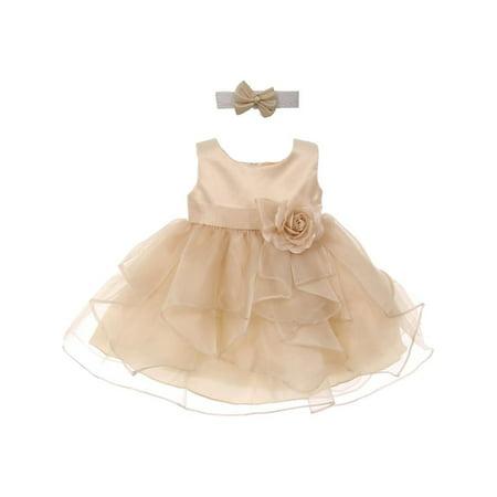 Good Girl Baby Girls Champagne Satin Organza Sleeveless Flower Girl Dress (Champagne Flower Girl Dress)
