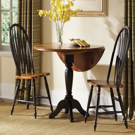 Windsor Leaf (Liberty Furniture Low Country Black 3 pc. Drop Leaf Table Set with Windsor Chairs )