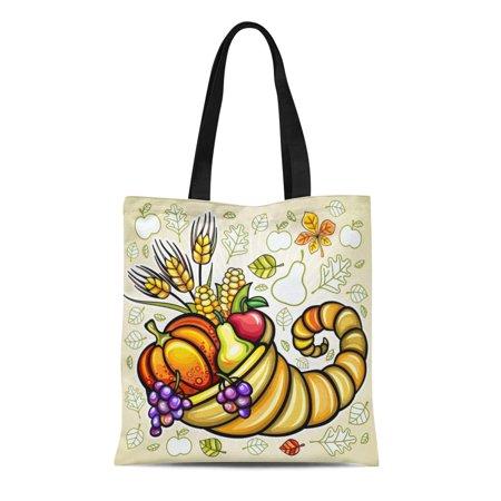 SIDONKU Canvas Tote Bag Green Fruit Thanksgiving Harvest Cornucopia Orange Basket Food Day Reusable Shoulder Grocery Shopping Bags Handbag