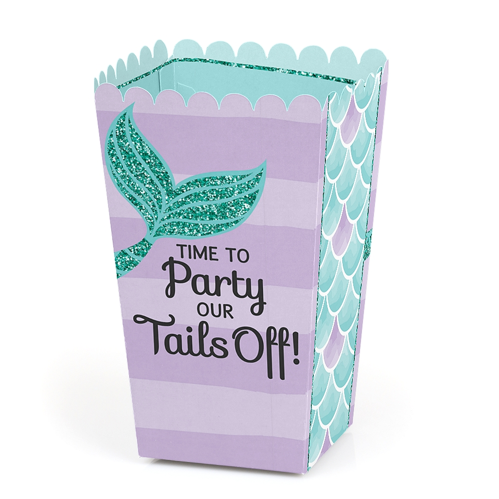 Let's Be Mermaids - Baby Shower or Birthday Party Favor Popcorn Treat Boxes - Set of 12