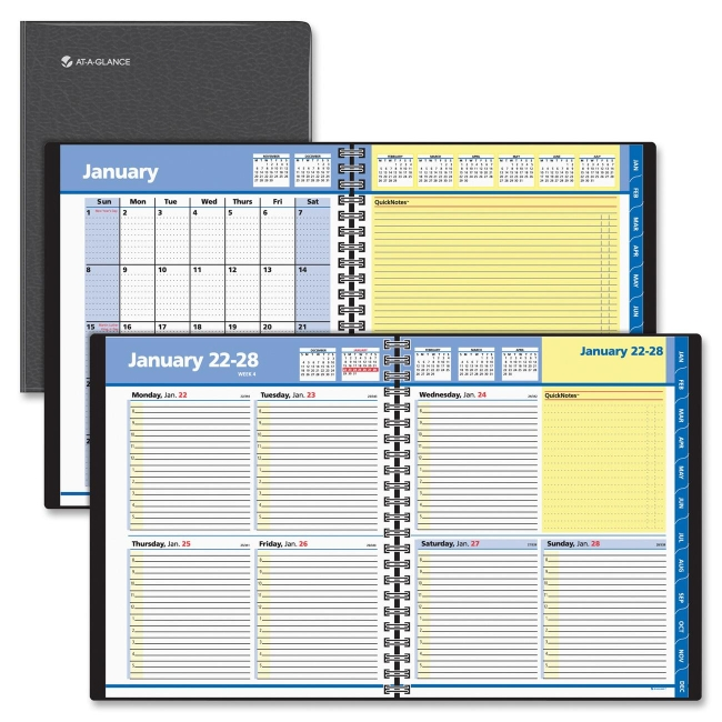 At-A-Glance QuickNotes Weekly/Monthly Appointment Book, 8 x 9 7/8, Black, 2017 - AAG760505