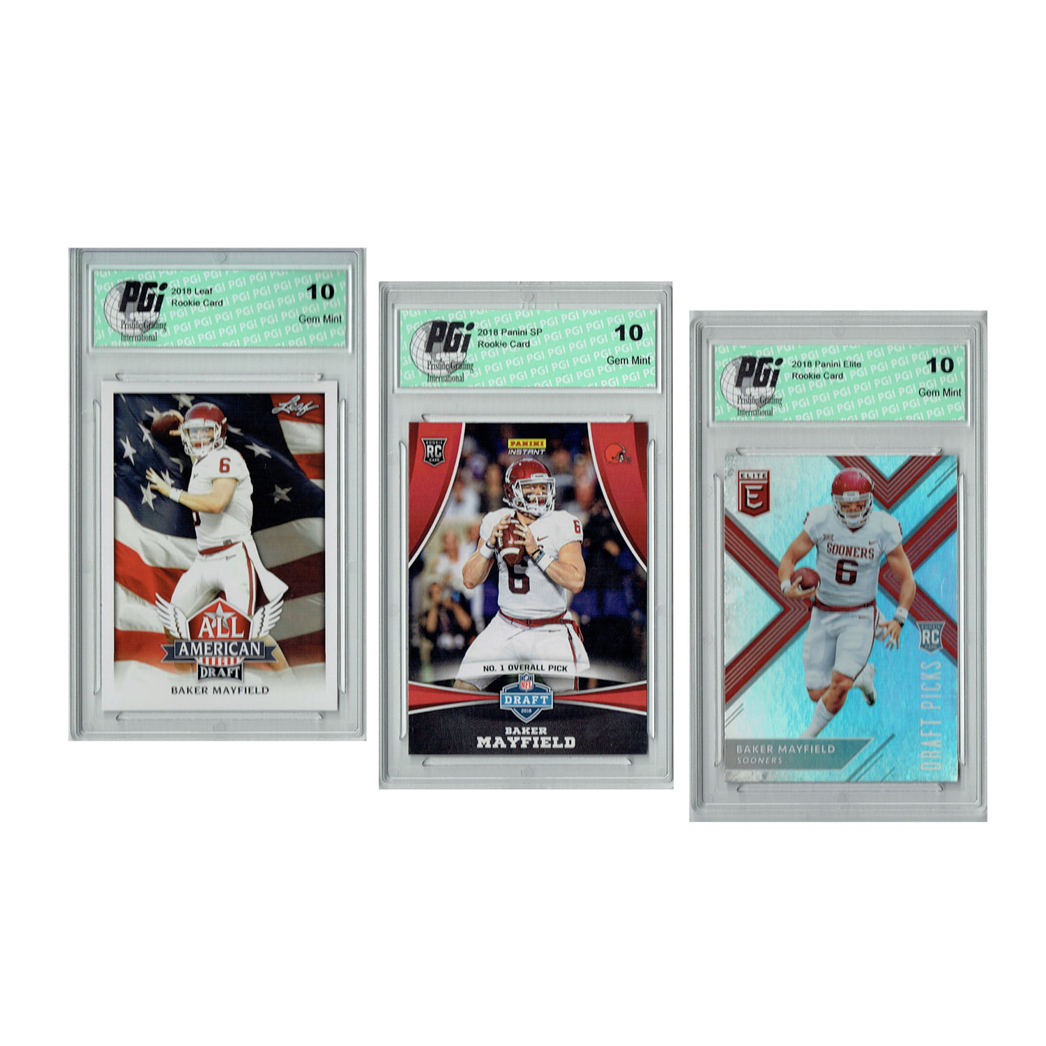Baker Mayfield 2018 Rookie Cards 3 Pack Panini Draft Night Elite Leaf Pgi 10