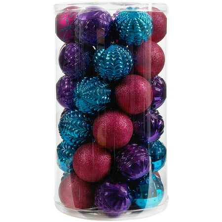 Holiday Time 41-Piece Shatterproof Ornament Set, Dark Teal, Purple & Fuchsia