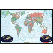 24x36 World Decorator Wall Map Poster Paper Folded