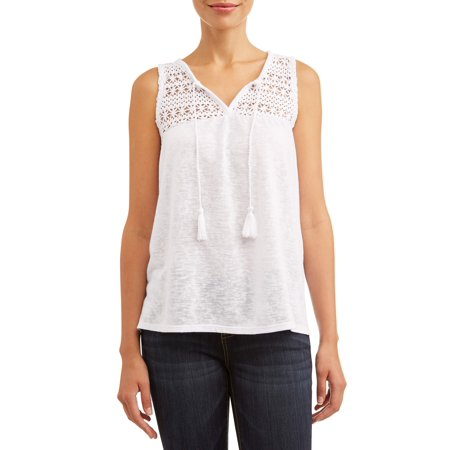 Women's Lace Trim Peasant Tank Top Classic Lace Trimmed Set