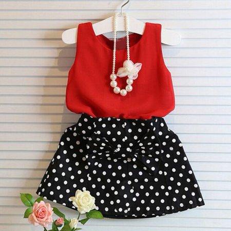 2 Piece Pleats Suit - Girls Vest Pleated Dress Two Pieces Set Clothes Children Skirt Suit RD/100
