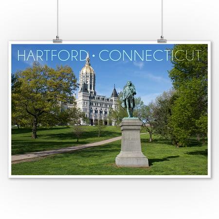 Hartford, Connecticut - Putnam Statue in Bushnell Park - Lantern Press Photograph (9x12 Art Print, Wall Decor Travel (Putnam Prints)