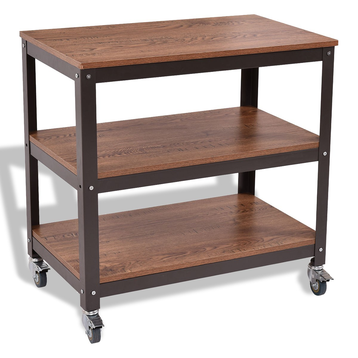 3 Tiers Wood Rolling Cart Sturdy Display Shelf