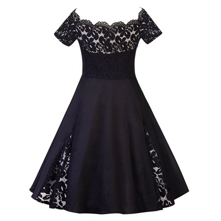 Plus Size Women Vintage Off Shoulder Lace Dress Short Sleeve Retro 50s 60s Rockabilly Evening Party Swing Prom - 60s Outfits Women