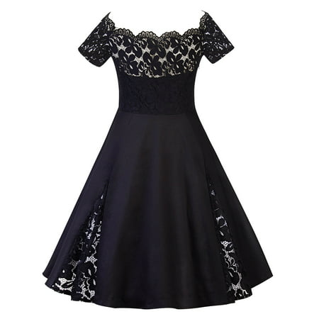 Plus Size Women Vintage Off Shoulder Lace Dress Short Sleeve Retro 50s 60s Rockabilly Evening Party Swing Prom Dresses