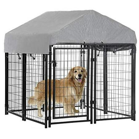 4'x4'x4.4' OutDoor Heavy Duty Playpen Welded Dog Kennel W/ Water-Resistant Cover ()