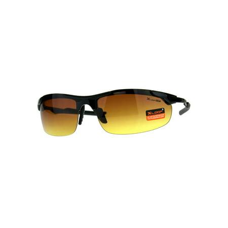 Xloop Mens HD Half Rim Warp Around Sport Sunglasses Shiny Black (X-loop Sport Sunglasses)