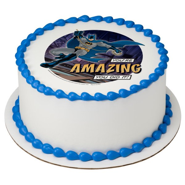 Outstanding Batman Youre Amazing 2 Round Cupcake Sheet Image Cake Topper Personalised Birthday Cards Cominlily Jamesorg